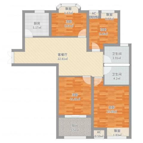 京城国际4室2厅2卫1厨108.00㎡户型图