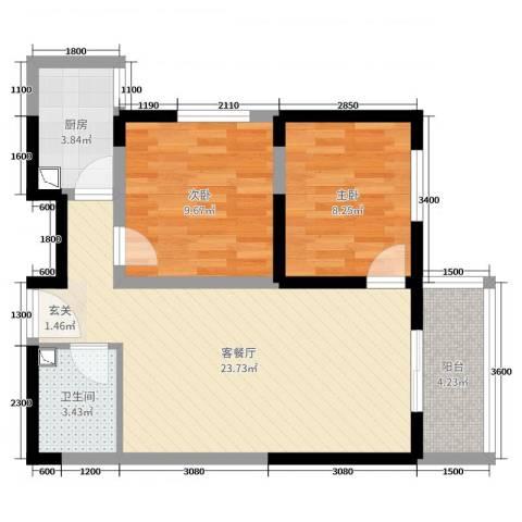 哈佛印象2室2厅1卫1厨80.00㎡户型图