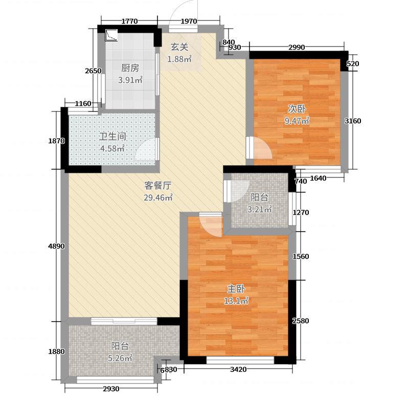 禹洲中央广场86.26㎡二期A3户型3室3厅1卫1厨