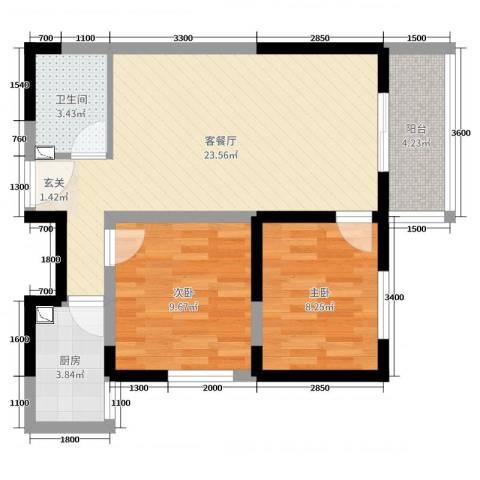 哈佛印象2室2厅1卫1厨81.00㎡户型图