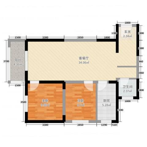 哈佛印象2室2厅1卫1厨95.00㎡户型图