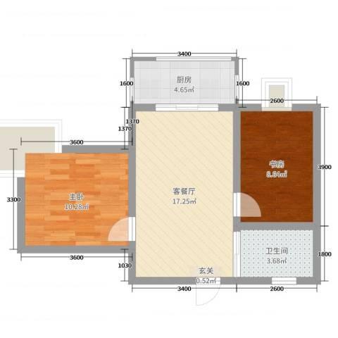 海南东方锦绣蓝湾2室2厅1卫1厨64.00㎡户型图
