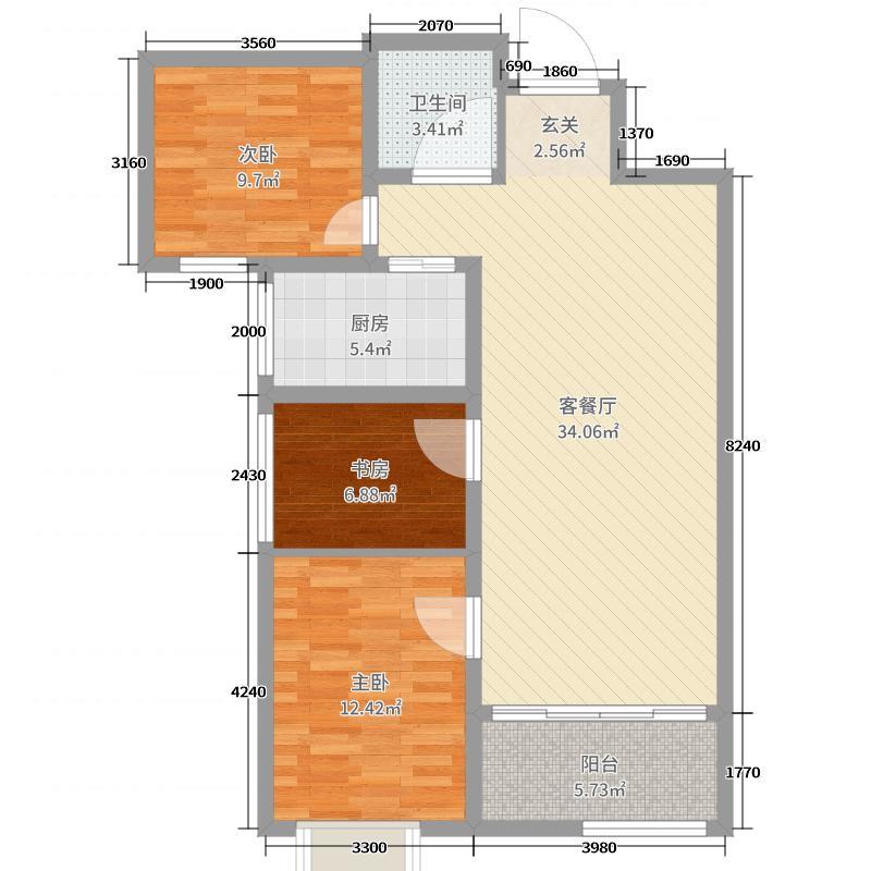 高新臻园97.00㎡户型3室3厅1卫1厨