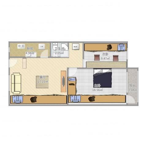南三环中路小区2室1厅1卫1厨82.00㎡户型图