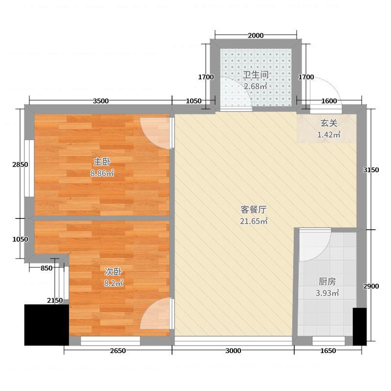 时代・悦府74.00㎡C8#户型2室2厅1卫1厨