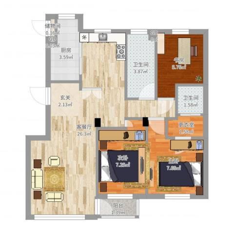 咏月苑3室2厅2卫1厨74.00㎡户型图