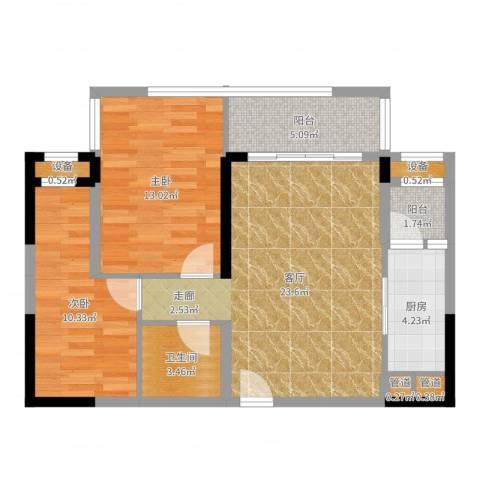 莱蒙水榭春天2室1厅1卫1厨79.00㎡户型图