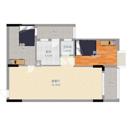 逸景雅轩2室2厅1卫1厨89.00㎡户型图