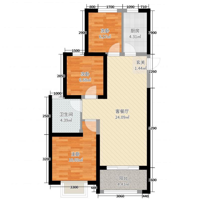 恒大山水城95.49㎡三期27#楼户型3室3厅1卫1厨