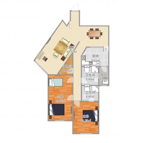 中福公寓2室1厅2卫1厨130.00㎡户型图