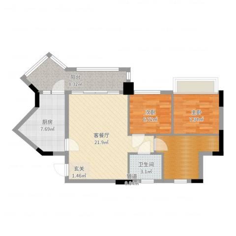 康桥活力城2室2厅1卫1厨79.00㎡户型图