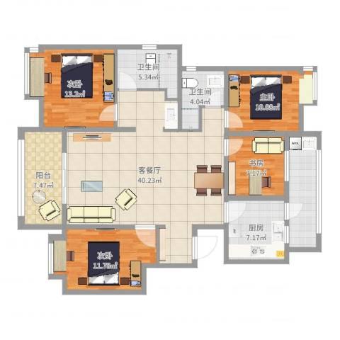 金浦御龙湾4室2厅2卫1厨141.00㎡户型图