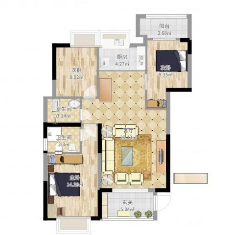 金丰花园3室1厅2卫1厨100.00㎡户型图