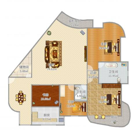佳苑星河3室1厅2卫1厨235.00㎡户型图