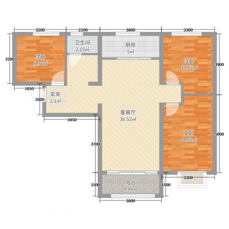 富力城118.00㎡B户型3室3厅1卫