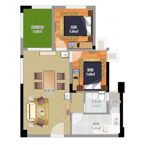 香榭国际2室2厅1卫1厨73.00㎡户型图