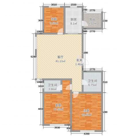 红日・城市假日花园3室1厅2卫1厨142.00㎡户型图