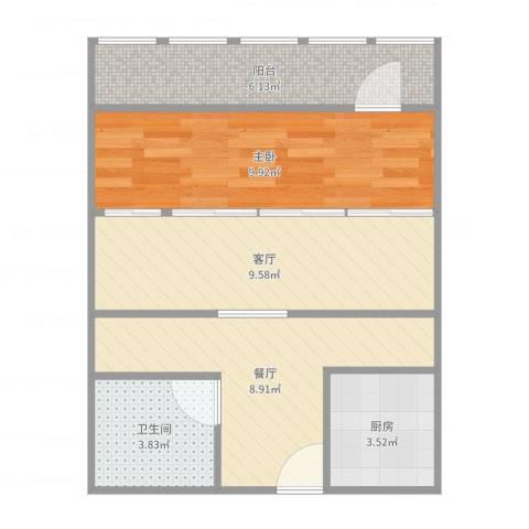 太平桥东里1室2厅1卫1厨52.00㎡户型图