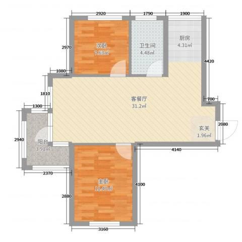 青国青城2室2厅1卫0厨73.00㎡户型图