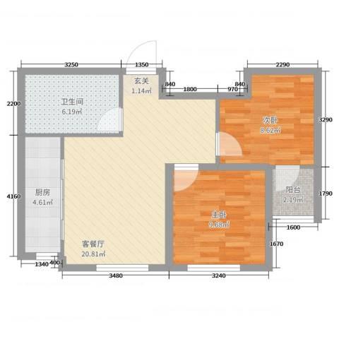 青国青城2室2厅1卫1厨65.00㎡户型图