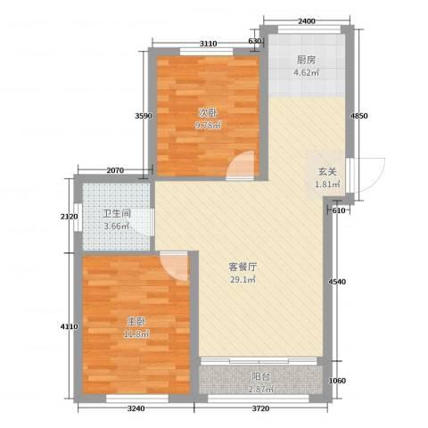 青国青城2室2厅1卫0厨72.00㎡户型图