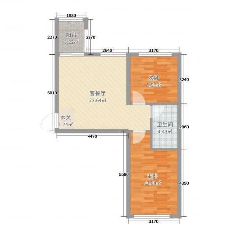 青国青城2室2厅1卫0厨66.00㎡户型图