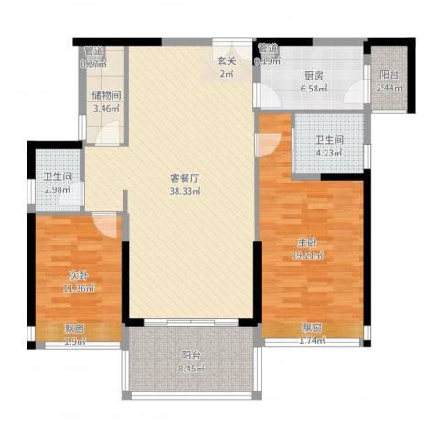 凯名轩2室2厅2卫1厨122.00㎡户型图