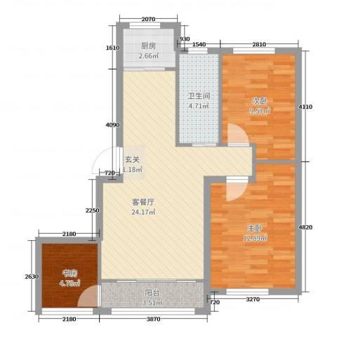 青国青城3室2厅1卫1厨78.00㎡户型图