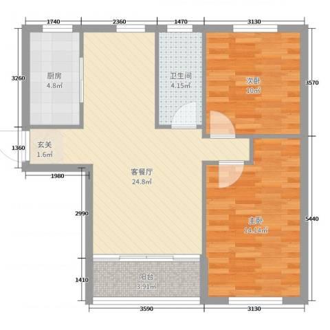 青国青城2室2厅1卫1厨77.00㎡户型图