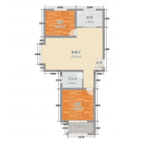 馨视界・花城2室2厅1卫1厨88.00㎡户型图