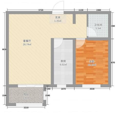 馨视界・花城1室2厅1卫1厨63.00㎡户型图