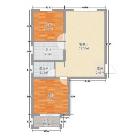 馨视界・花城2室2厅1卫1厨81.00㎡户型图