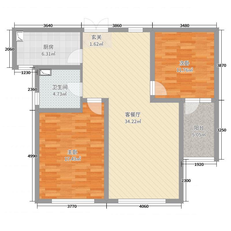 金沙滩壹号99.46㎡8号楼E户型2室2厅1卫1厨