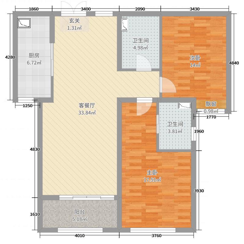 金沙滩壹号107.55㎡6号楼B户型2室2厅1卫1厨