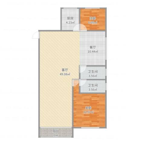 张杨花苑16号01室2室1厅2卫1厨103.00㎡户型图