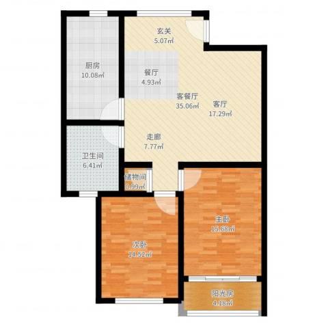 张杨花苑2室2厅1卫1厨109.00㎡户型图