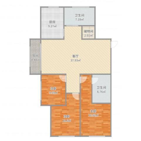 张杨花苑3室1厅2卫1厨135.00㎡户型图
