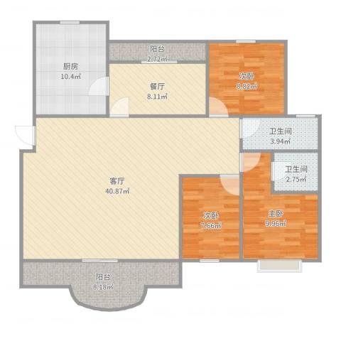运银公寓3室2厅2卫1厨129.00㎡户型图