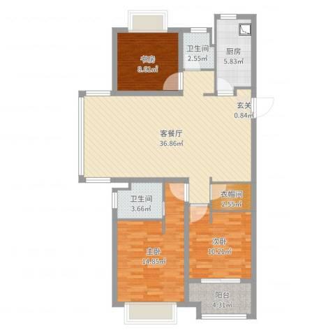 澜调国际3室2厅2卫1厨128.00㎡户型图