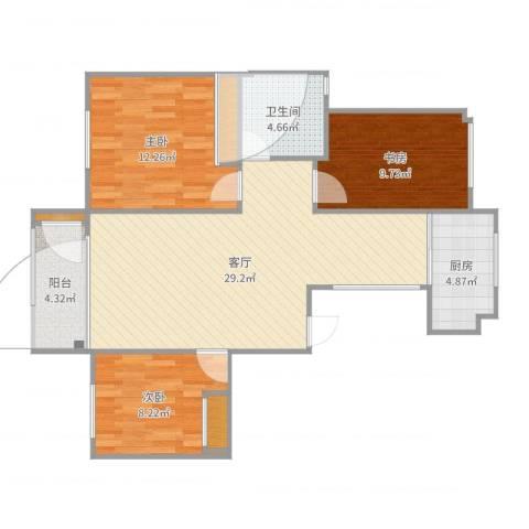 塔埠栋盛苑1213室1厅1卫1厨94.00㎡户型图
