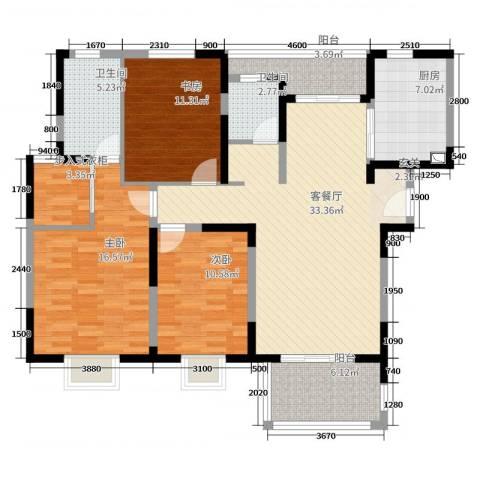 宝龙香槟湖3室2厅2卫1厨126.00㎡户型图