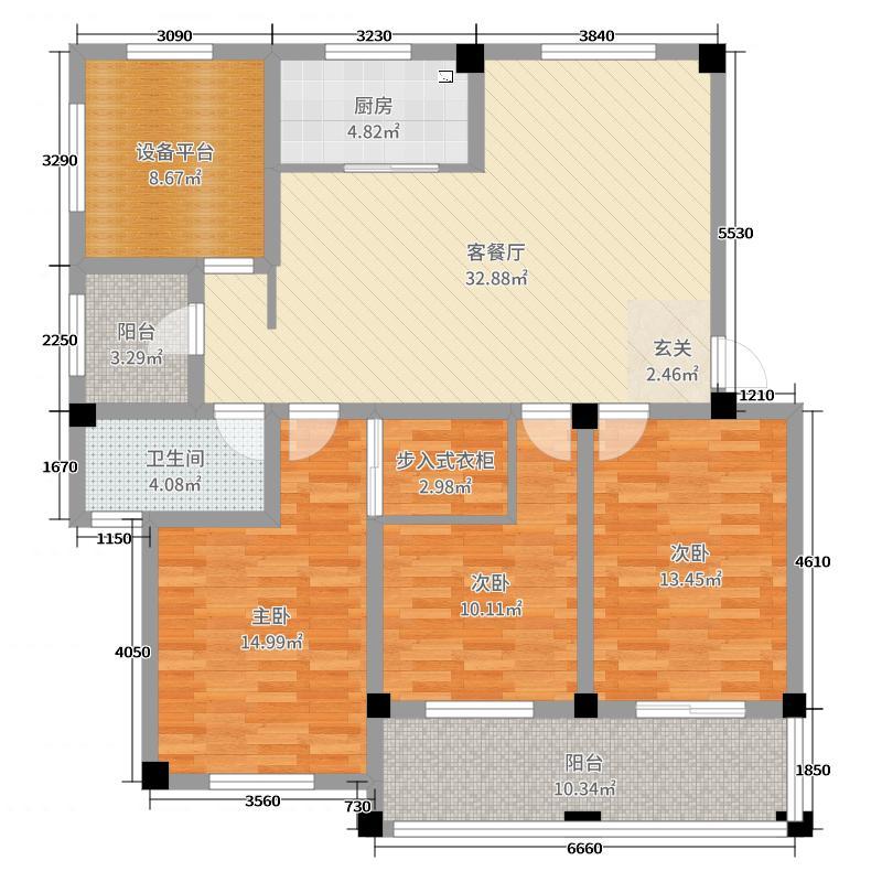 金桥花园134.47㎡A2户型3室3厅2卫1厨