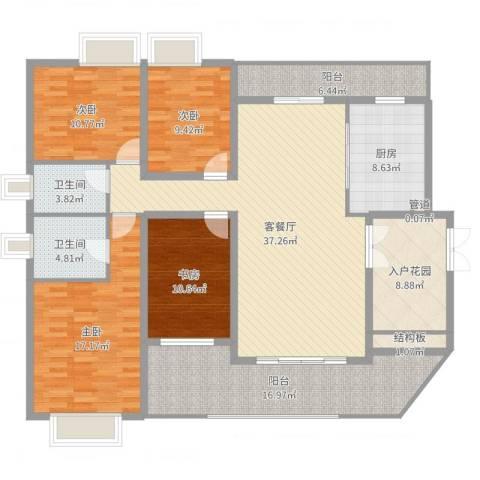 华菱嘉园二期4室2厅2卫1厨170.00㎡户型图