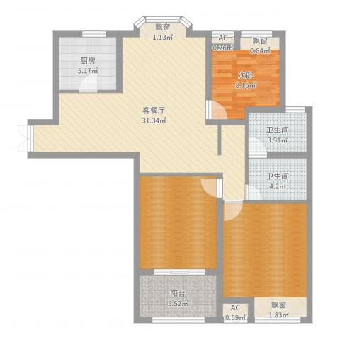 京城国际1室2厅2卫1厨108.00㎡户型图