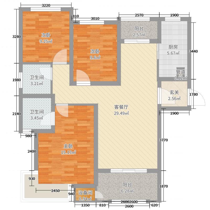 绿地・国际花都110.00㎡2期1、3号楼B1户型3室3厅2卫1厨