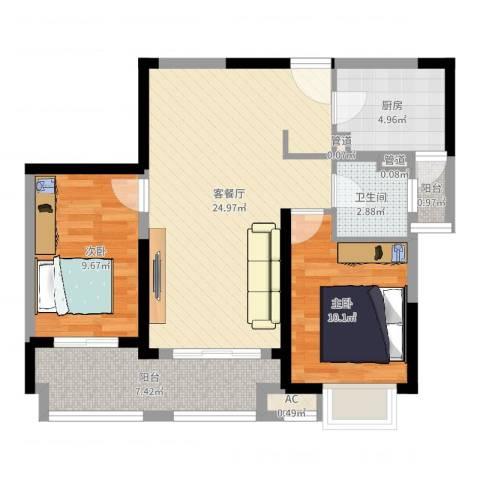 大华锦上城2室2厅1卫1厨77.00㎡户型图
