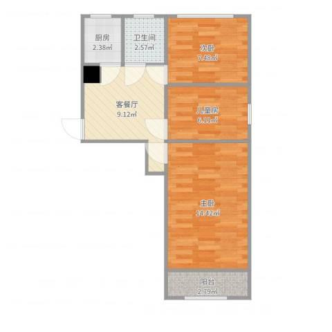 太平桥小区3室2厅1卫1厨56.00㎡户型图