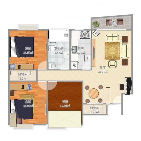 精文城上城3室1厅1卫1厨105.00㎡户型图