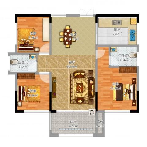 振业城1093室1厅2卫1厨104.00㎡户型图