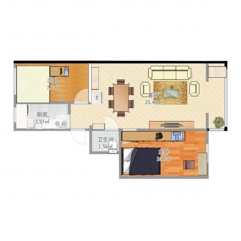 裕民东里2室1厅1卫1厨61.00㎡户型图
